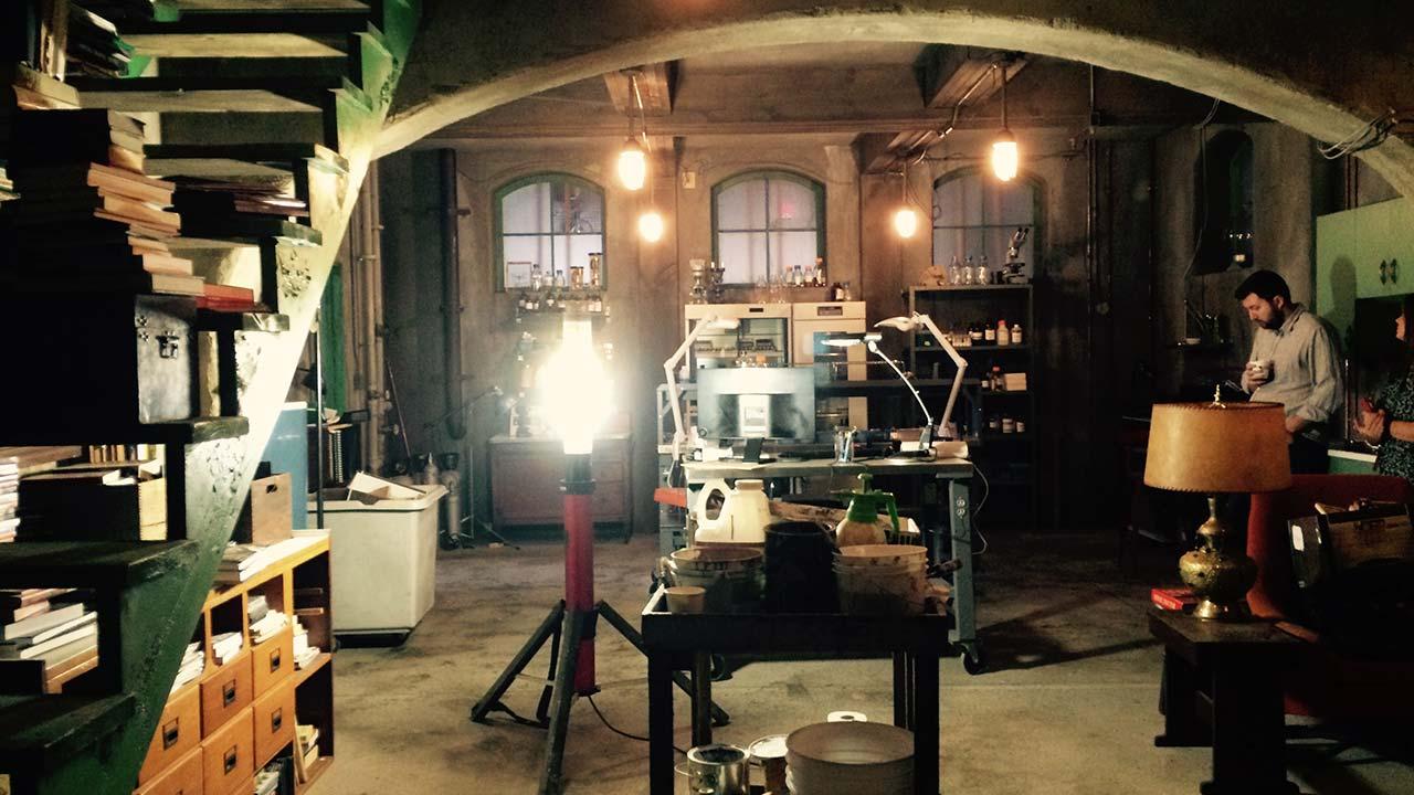 Evan in the lab set