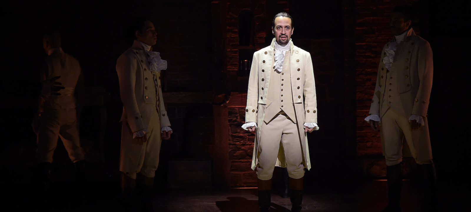 "Actor, composer Lin-Manuel Miranda performs on stage during ""Hamilton"" GRAMMY performance for The 58th GRAMMY Awards at Richard Rodgers Theater on February 15, 2016 in New York City."