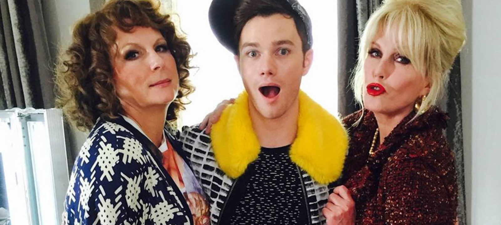 "Chris Colfer joins Eddie (Jennifer Saunders) and Patsy (Joanna Lumley) in 'Ab Fab"" The Movie'"