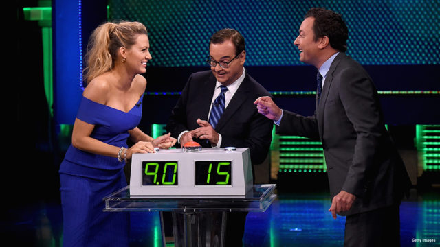 "Blake Lively, Steve Higgins and host Jimmy Fallon during the ""Know it all"" segment on ""The Tonight Show Starring Jimmy Fallon"" at Rockefeller Center on June 20, 2016 in New York City."