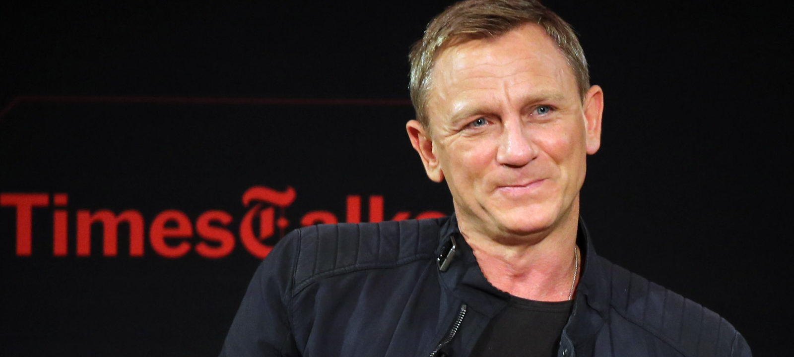 "Actor Daniel Craig chats with moderator Logan Hill during the ""Times Talks Presents: Spectre, An Evening With Daniel Craig And Sam Mendes' event at The New School on November 4, 2015 in New York City."