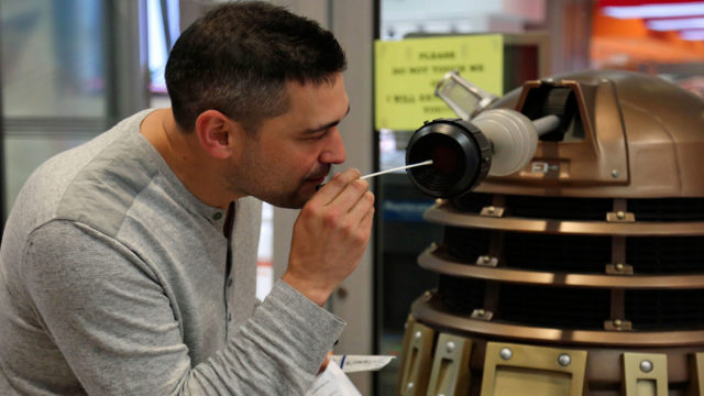 Dr. Adam Rutherford swabs a Dalek (Photo: BBC)