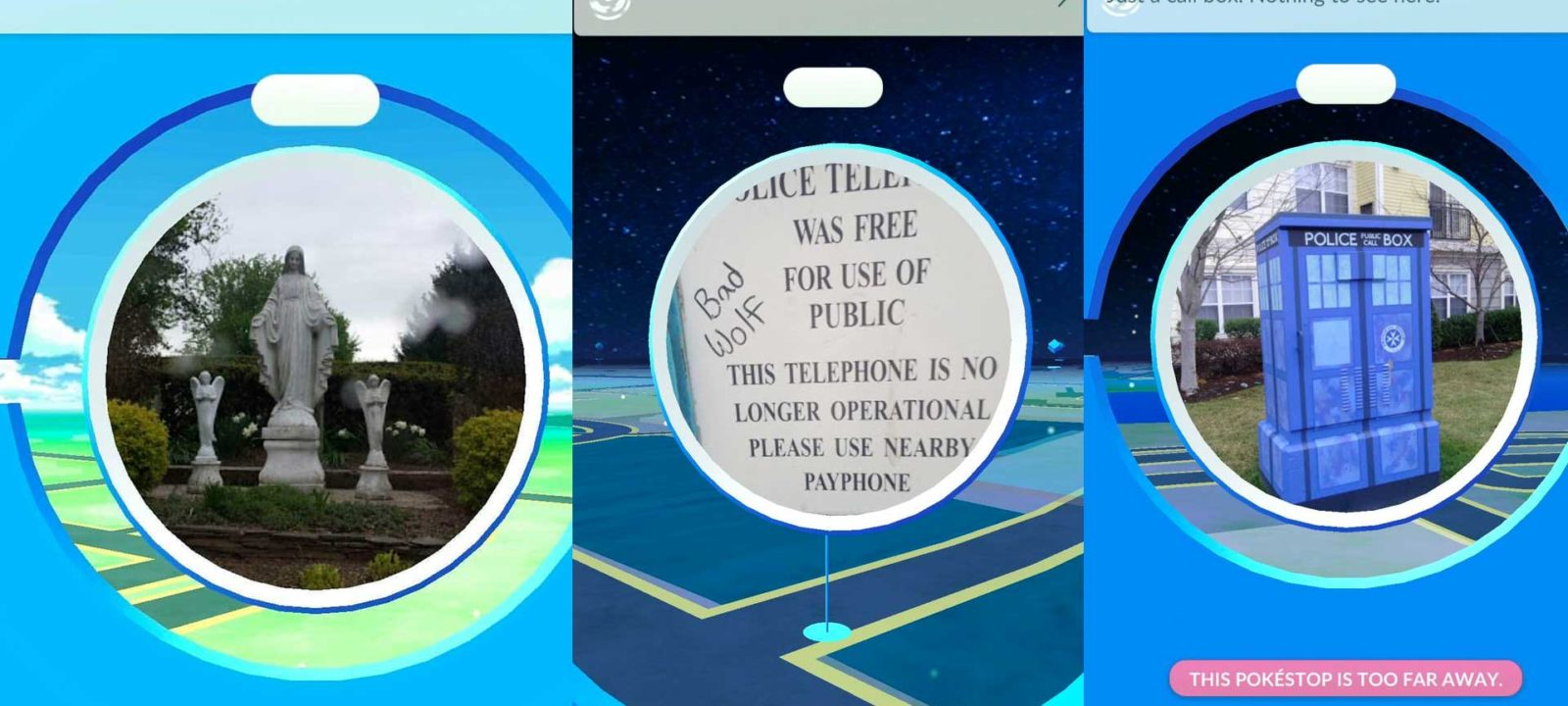 The Whovian locations of Pokemon Go (Photos: Twitter)