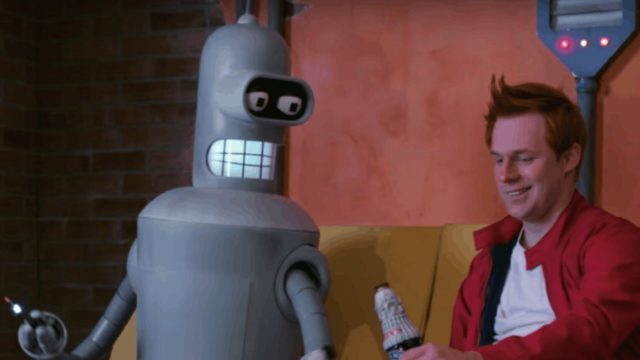 Bender and Fry in 'Fan-o-rama', a fan-made live-action version of 'Futurama'
