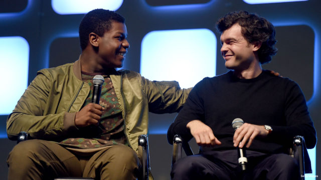 John Boyega (L) and Alden Ehrenreich, who will play Han Solo, on stage during Future Directors Panel at the Star Wars Celebration 2016 at ExCel on July 17, 2016 in London, England.