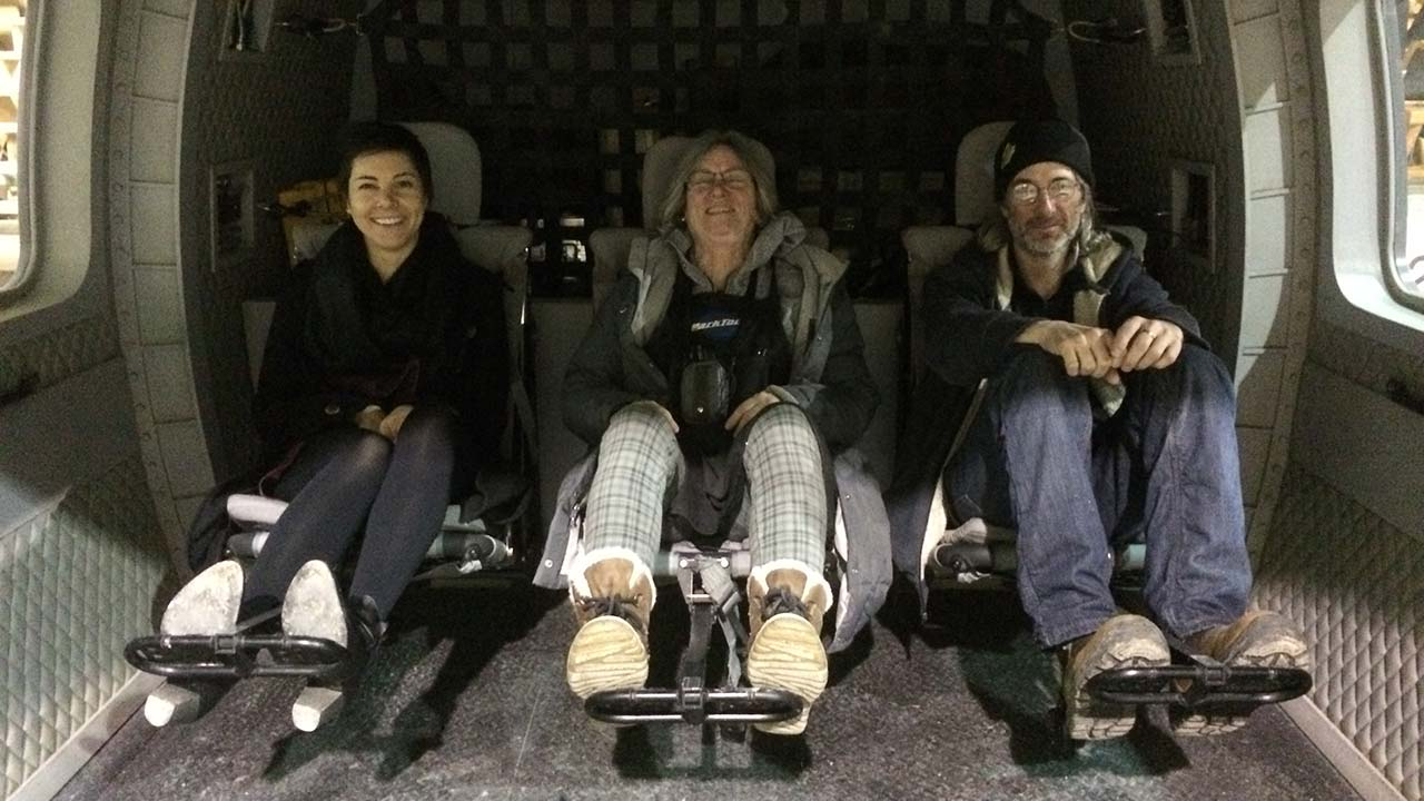 Joelle Craven, our Set Decorator Liz Calderhead and our Head Carpenter Eric Summerly in our helicopter set designed by Emilie Poulin