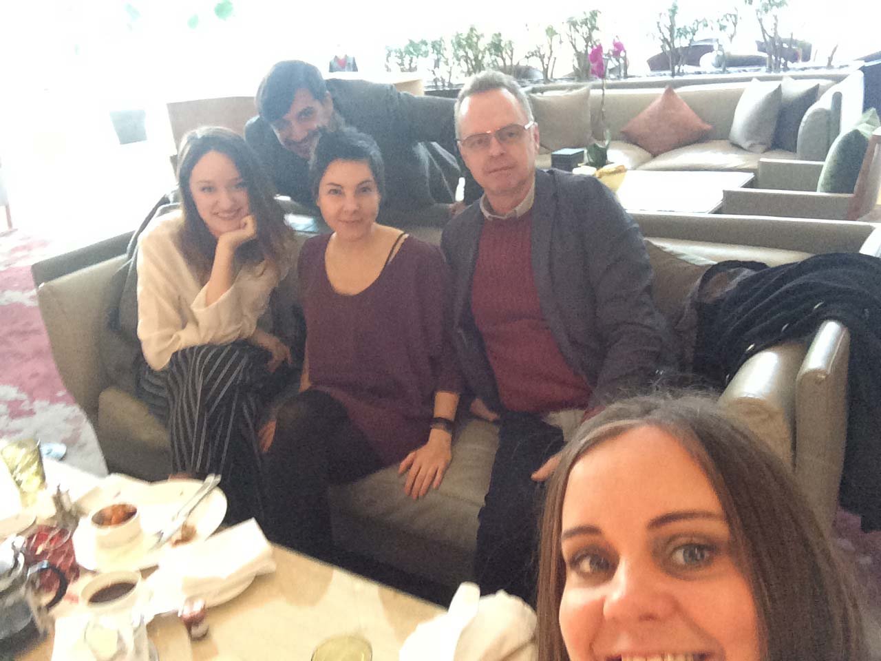 End of show breakfast! From left: Emilie Poulin, Sasha Kosovic, Joelle Craven, John Dondertman, and Jody Clement at the bottom