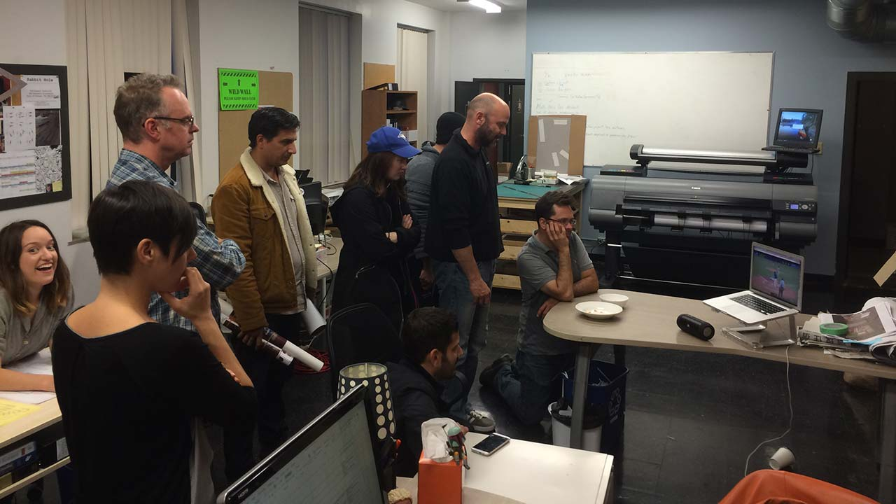The Art Department and Graeme Manson watching the Blue Jays in the playoffs! Go, Jays, go!
