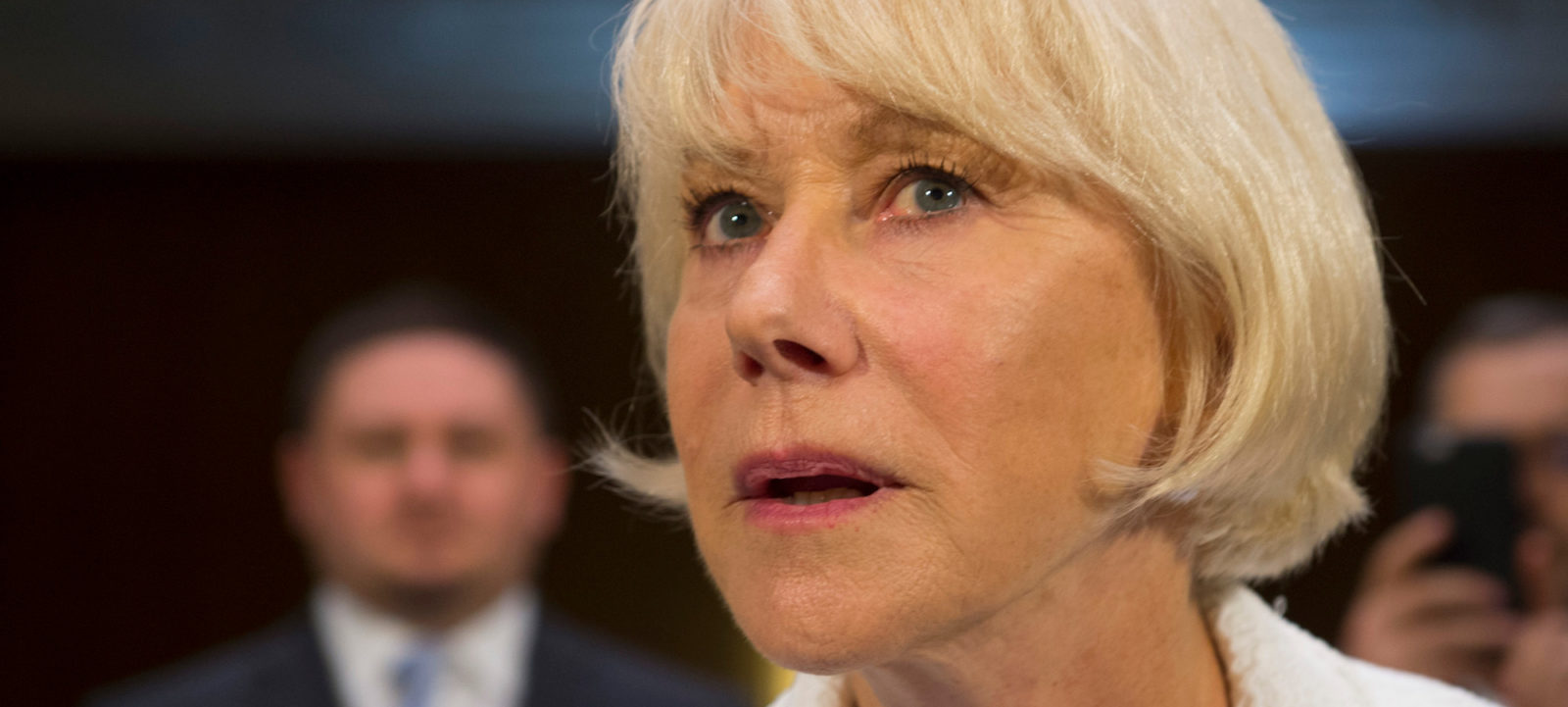 "Actress Helen Mirren testifies before the Constitution Subcommittee and the Oversight, Agency Action, Federal Rights and Federal Courts Subcommittee joint hearing on the ""Holocaust Expropriated Art Recovery Act – Reuniting Victims with Their Lost Heritage."" on Capitol Hill on June 7, 2016, in Washington, DC.   / AFP / MOLLY RILEY"