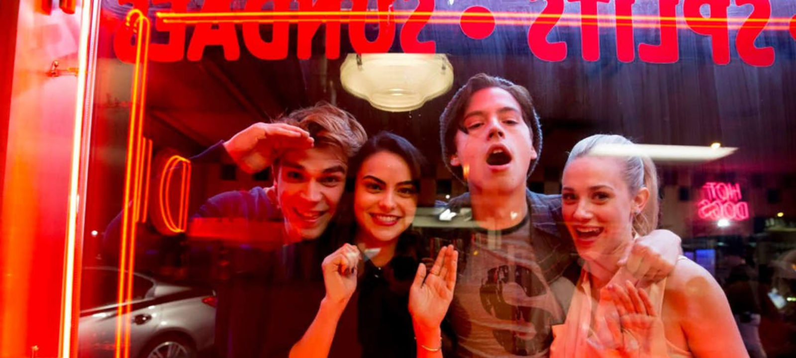 K.J. Apa (Archie), Camila Mendes (Veronica), Cole Sprouse (Jughead) and Lili Reinhart (Betty) in 'Riverdale'. (Pic: CBS/The CW)