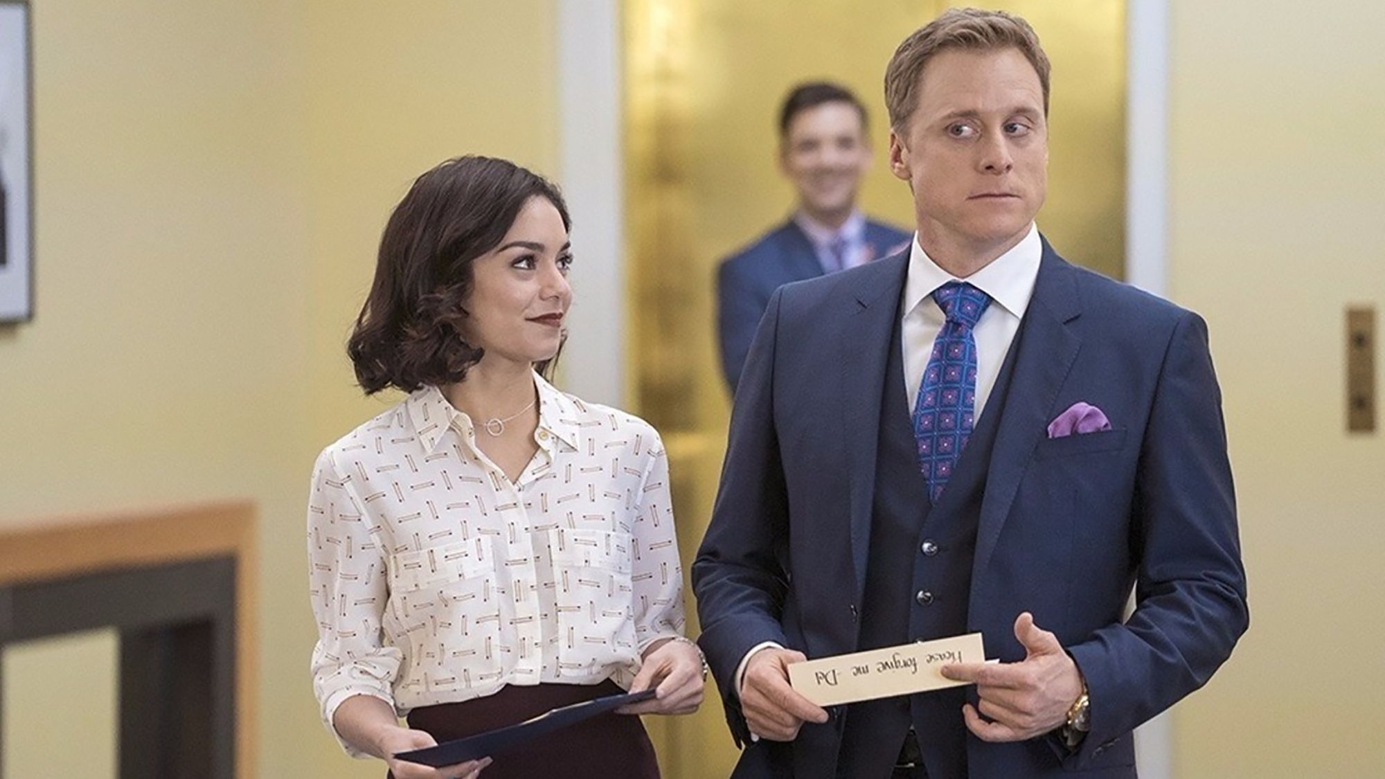 Vanessa Hudgens and Alan Tudyk in 'Powerless'. (Pic: NBC)