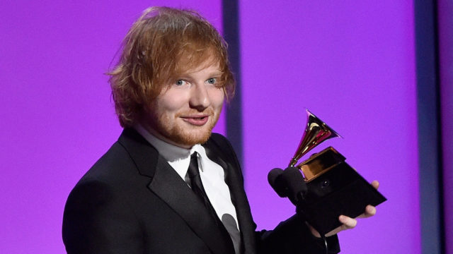 "Singer-songwriter Ed Sheeran accepts the Grammy Award for Best Pop Solo Performance, for ""Thinking Out Loud,"" onstage during the GRAMMY Pre-Telecast at The 58th GRAMMY Awards at Microsoft Theater on February 15, 2016 in Los Angeles, California."