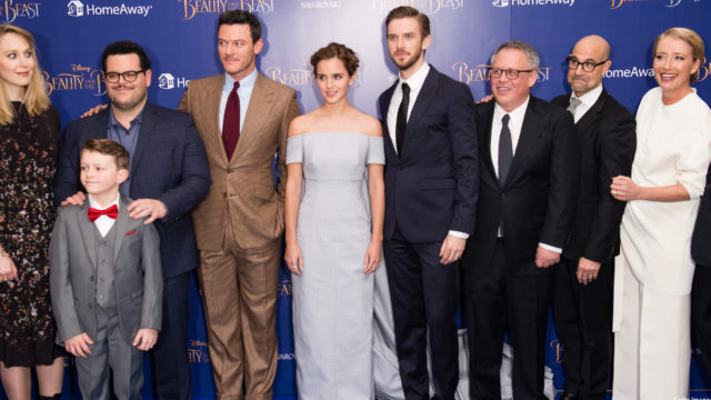 """(L-R) Hattie Morahan, Nathan Mack Josh Gad, Luke Evans, Emma Watson Dan Stevens, Bill Condon, Stanley Tucci and Emma Thompson attend the UK Premiere of """"Beauty And The Beast"""" in London on February 23, 2017. (Photo: Getty Images)"""