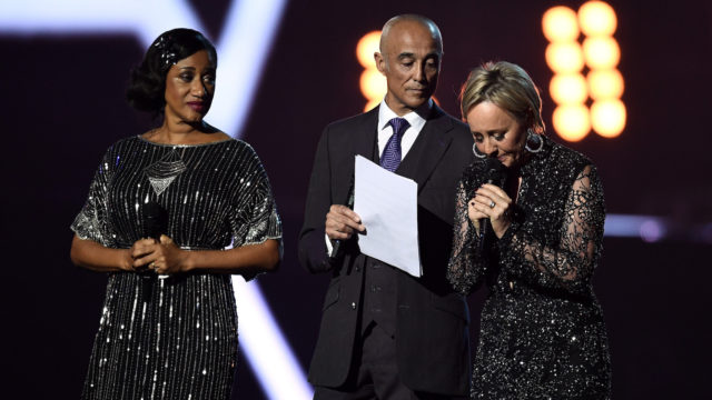 (L-R) Pepsi DeMacque, Andrew Ridgeley and Shirlie Holliman present a tribute to George Michael on stage at The BRIT Awards 2017. (Photo: Getty Images)