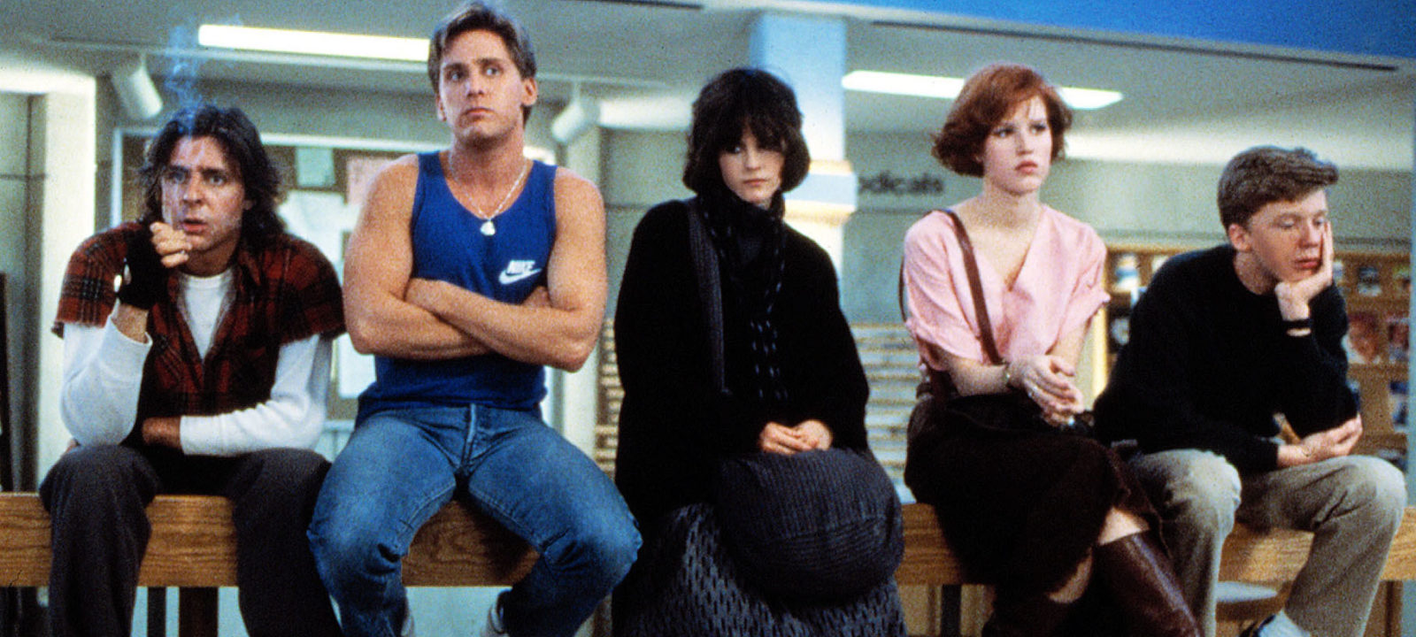 THE BREAKFAST CLUB, Judd Nelson, Emilio Estevez, Ally Sheedy, Molly Ringwald, Anthony Michael Hall, 1985.
