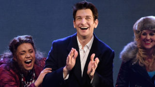 "(L-R) John Sanders, Barrett Doss, Andy Karl and Rebecca Faulkenberry perform onstage at the ""Groundhog Day"" Broadway Opening Night at August Wilson Theatre on April 17, 2017 in New York City."