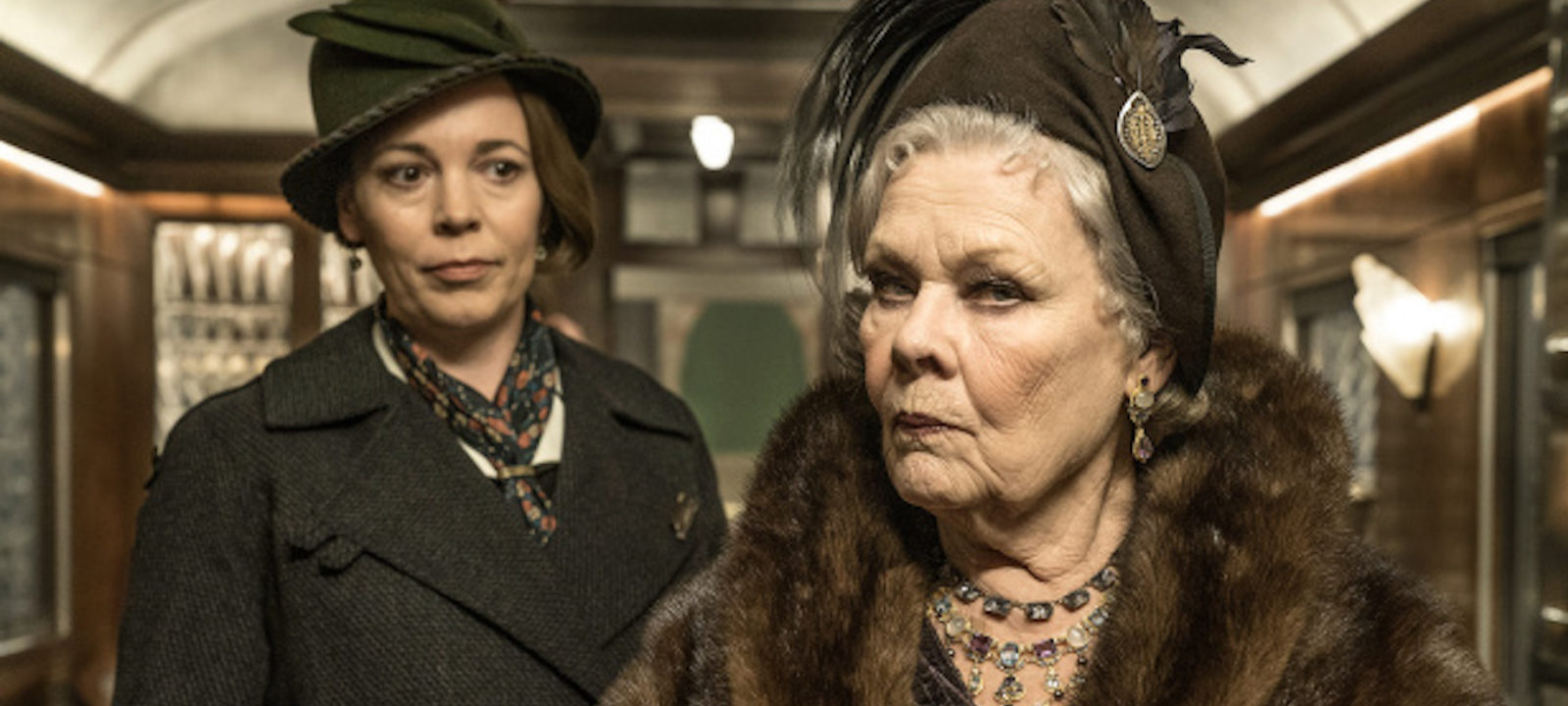 Olivia Colman (l) and Judi Dench in 'Murder on the Orient Express'