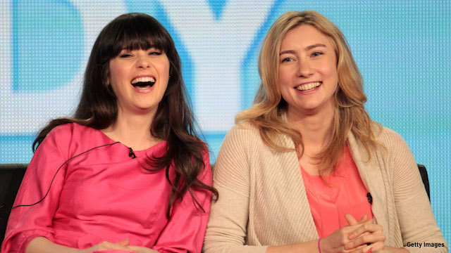 'New Girl' star Zooey Deschanel with Liz Meriwether. (Photo: Getty Images)