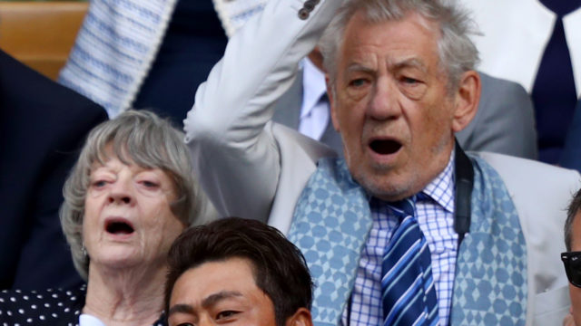 Sir Ian McKellen, Dame Maggie Smith, Sir Chris Hoy, Hideki Matsuyama and the Duke of Kent react in the centre court royal box during the Gentlemen's Singles quarter final match between Andy Murray of Great Britain and Sam Querrey of The United States on day nine of the Wimbledon Lawn Tennis Championships at the All England Lawn Tennis and Croquet Club on July 12, 2017 in London, England.