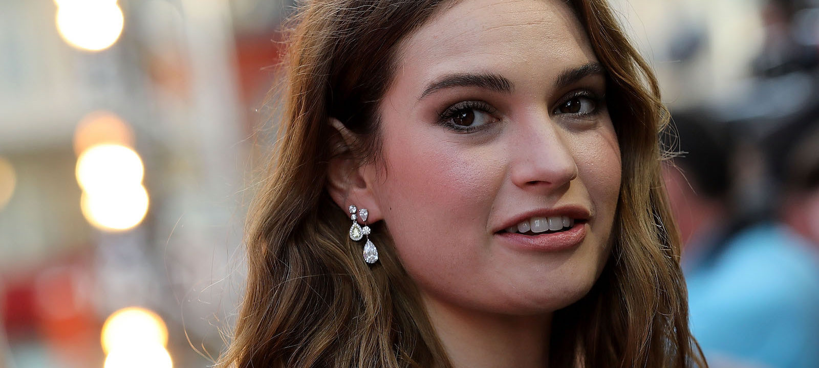 "Lily James attends the European Premiere of Sony Pictures ""Baby Driver"" on June 21, 2017 in London, England."