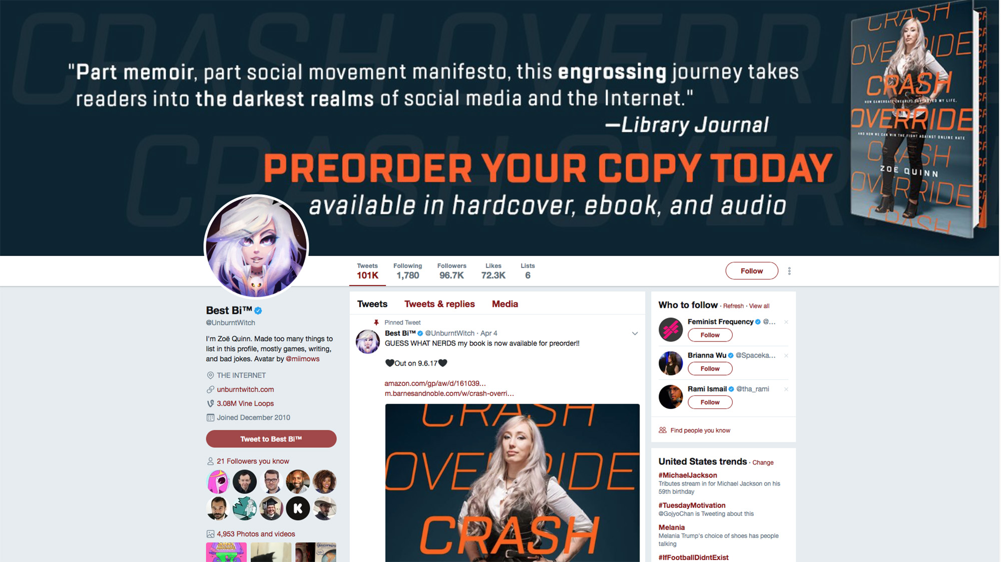Zoe Quinn: Crash Override: How Gamergate (Nearly) Destroyed My Life, and How We Can Win the Fight Against Online Hate