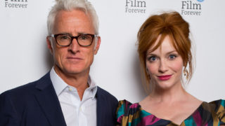 "(L-R) John Slattery and Christina Hendricks attends the photocall for ""God's Pocket"" at BFI Southbank on August 4, 2014 in London, England."