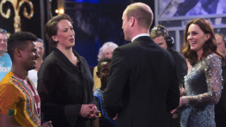Prince William, Duke of Cambridge and Catherine, Duchess of Cambridge speak to Miranda Hart on stage as they attend the Royal Variety Performance at the Palladium Theatre on November November 24, 2017 in London, England. The Royal Variety Performance takes place every year, either in London or in a theatre around the United Kingdom. The event is in aid of the Royal Variety Charity, formally, The Entertainment Artistes Benevolent Fund, of which The Queen is Patron. The money raised from the show helps hundreds of entertainers throughout the UK, who need help and assistance as a result of old age, ill-health, or hard times.