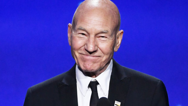 Actor Sir Patrick Stewart speaks onstage during The 23rd Annual Critics' Choice Awards at Barker Hangar on January 11, 2018 in Santa Monica, California.
