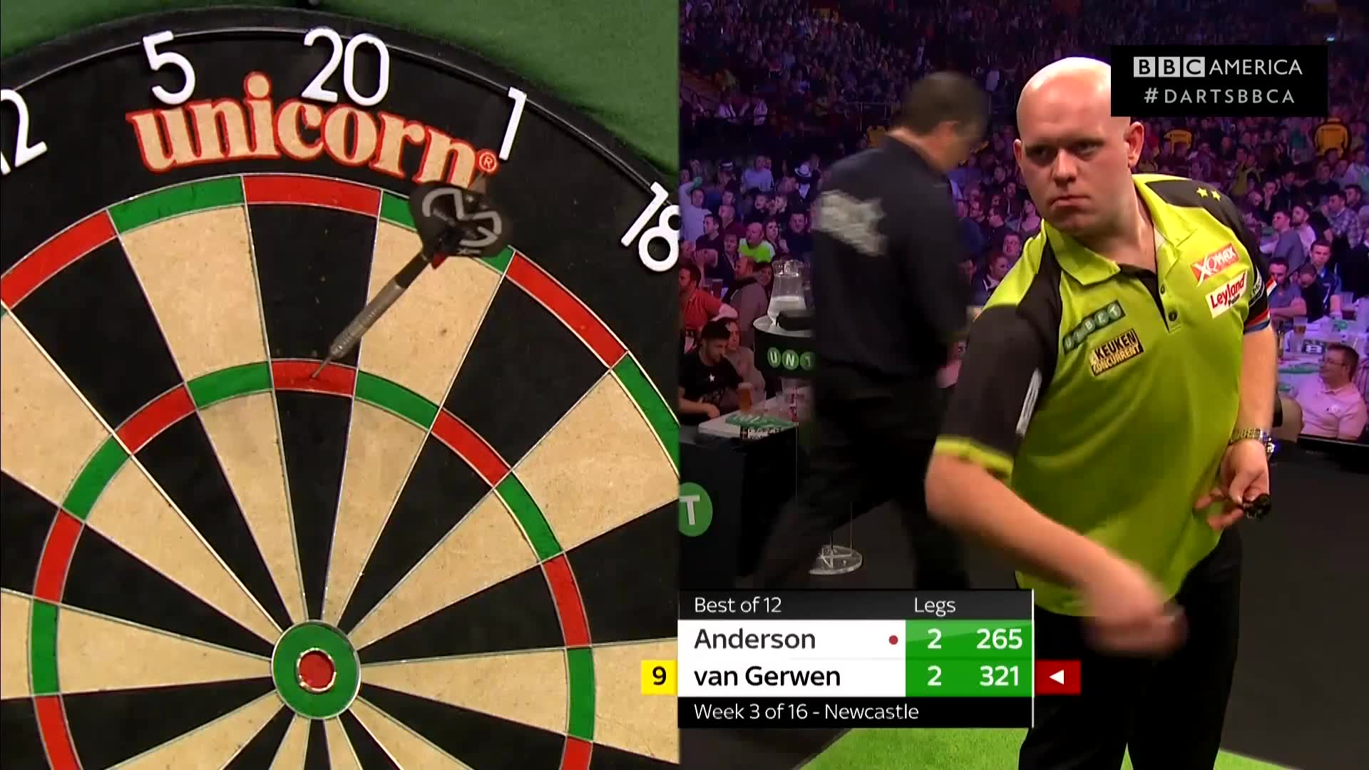 Anderson vs  van Gerwen: 180s on 180s | Darts | BBC America