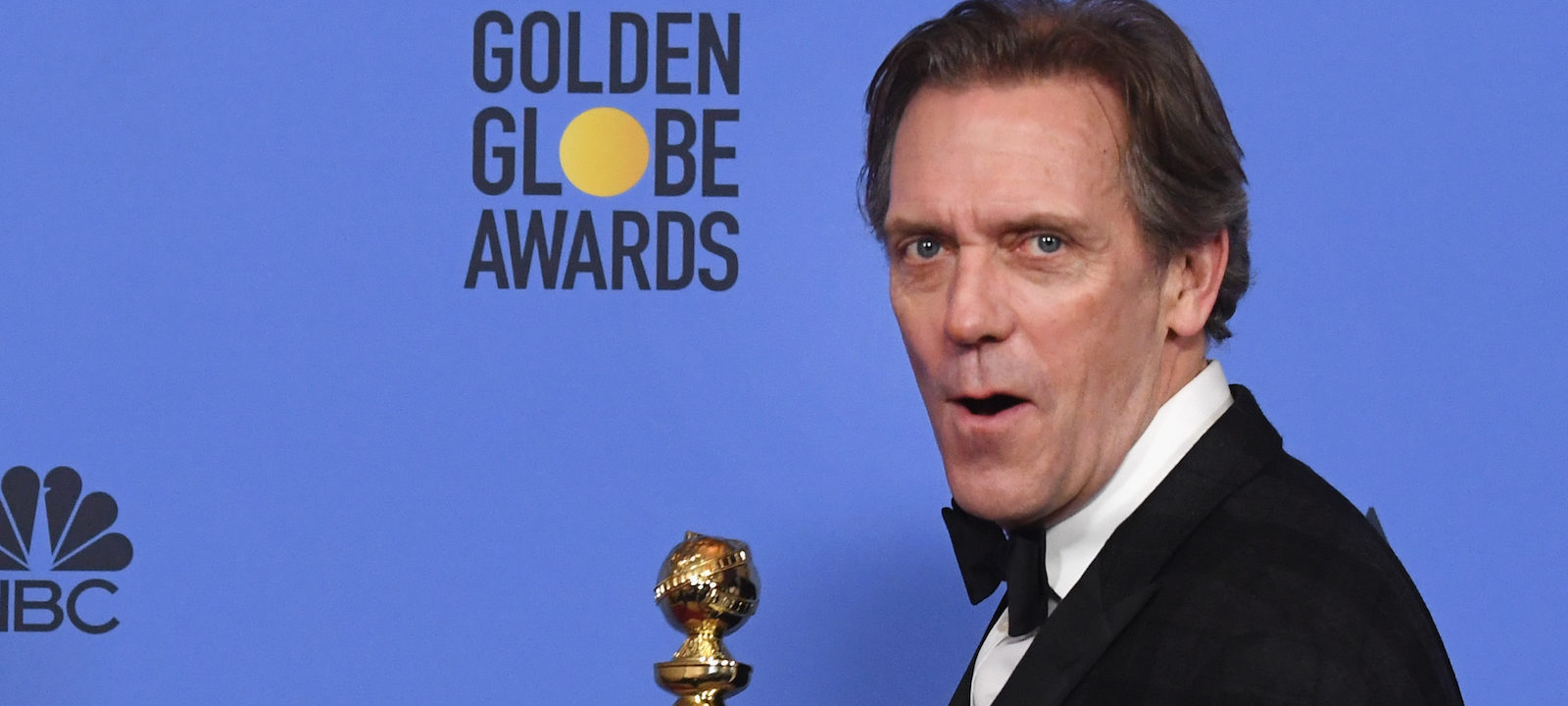 Actor Hugh Laurie, winner of Best Supporting Actor in a Series, Miniseries or Television Film for 'The Night Manager,' poses in the press room during the 74th Annual Golden Globe Awards at The Beverly Hilton Hotel on January 8, 2017 in Beverly Hills, California.