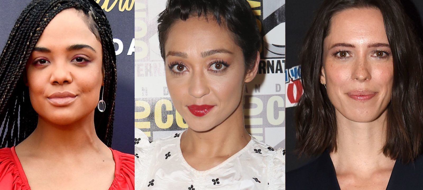 Composite image of Tessa Thompson, Ruth Negga and Rebecca Hall