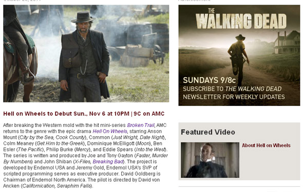 <em>Hell on Wheels</em> Newsletter Delivers Latest Info on AMC's Newest Series Directly to Your Inbox