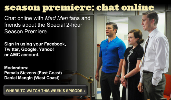 Chat Online About <em>Mad Men</em>&#8216;s Special 2-Hour Season Premiere on Sunday Night