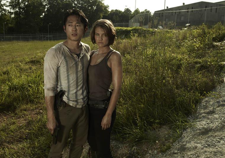 Glenn Rhee (Steven Yeun) and Maggie Greene (Lauren Cohan) of The Walking Dead