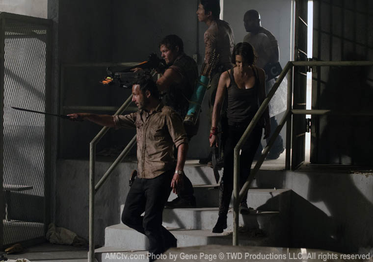 Rick Grimes (Andrew Lincoln), Daryl Dixon (Norman Reedus), Maggie Greene (Lauren Cohan), Glenn Rhee (Steven Yeun) and T-Dog (IronE Singleton) in Episode 1 of The Walking Dead