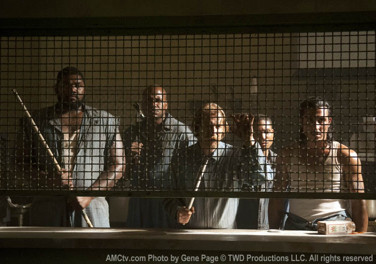 Tiny (Theodus Crane), Oscar (Vincent Ward), Axel (Lew Temple), Andrew (Markice Moore) and Tomas (Nick Gomez) in Episode 1 of The Walking Dead