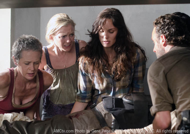 Carol Peletier (Melissa McBride), Beth Greene (Emily Kinney), Lori Grimes (Sarah Wayne Callies) and Rick Grimes (Andrew Lincoln) in Episode 2 of The Walking Dead