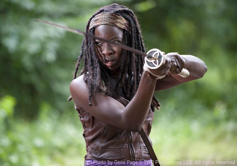 Michonne (Danai Gurira) in Episode 3 of The Walking Dead