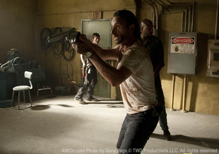 Daryl Dixon (Norman Reedus), Rick Grimes (Andrew Lincoln) and Oscar (Vincent Ward) in Episode 4 of The Walking Dead