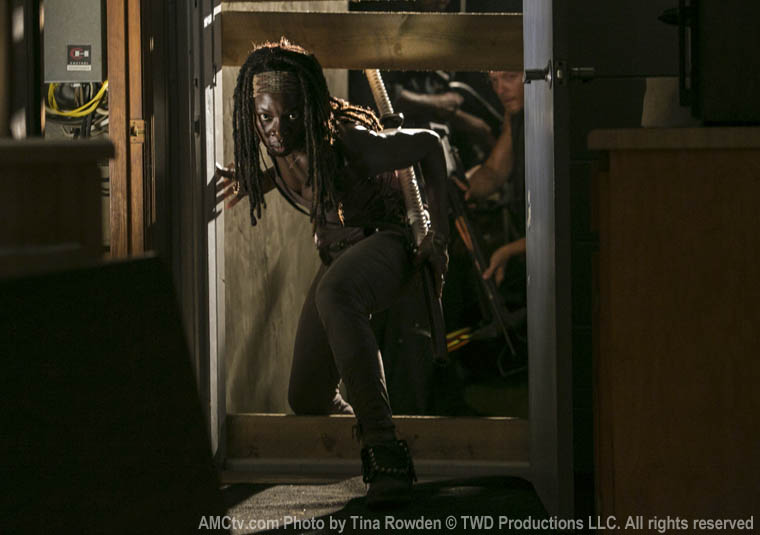 Michonne (Danai Gurira) and Daryl Dixon (Norman Reedus) in Episode 8 of The Walking Dead