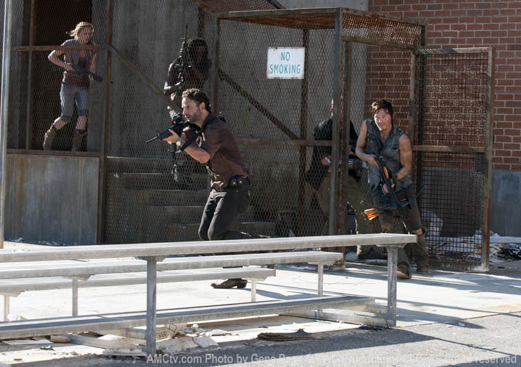 Beth Greene (Emily Kinney), Michonne (Danai Gurira), Rick Grimes (Andrew Lincoln), Merle Dixon (Michael Rooker) and Daryl Dixon (Norman Reedus) in Episode 11 of The Walking Dead