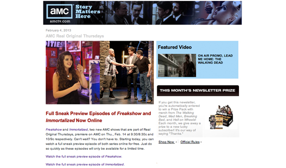Want to Keep on Top of the Latest <em>Freakshow</em> News? Sign Up for the AMC Weekly Newsletter