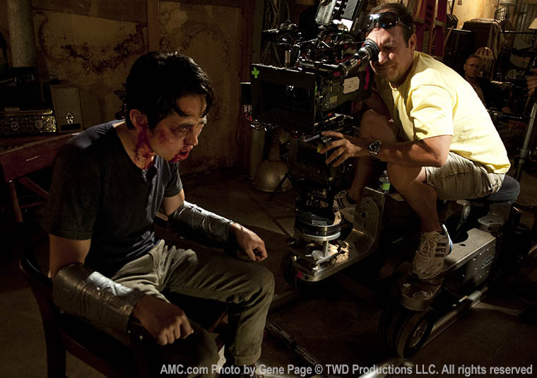 Steven Yeun (Glenn Rhee) and Mike Satrazemis (Camera Operator) in Episode 7 of The Walking Dead