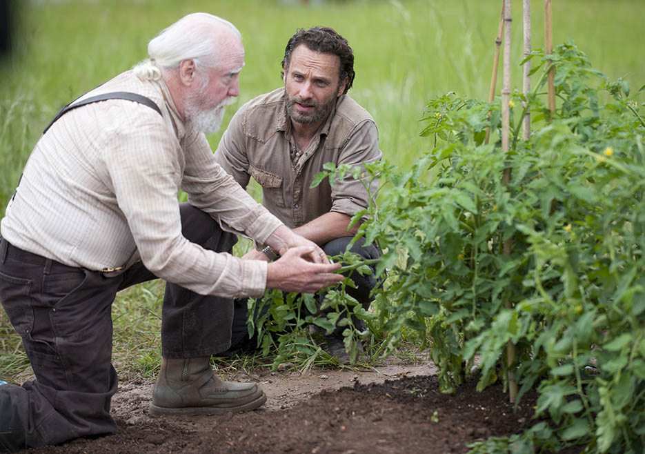 Hershel Greene (Scott Wilson) and Rick Grimes (Andrew Lincoln) in Episode 1 of The Walking Dead