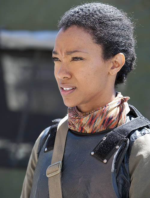 Sasha (Sonequa Martin-Green) in Episode 1 of The Walking Dead