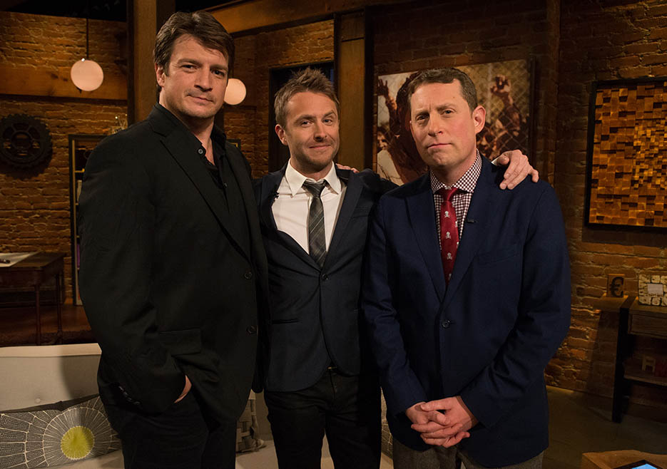 Nathan Fillion, Chris Hardwick and Scott M. Gimple (The Walking Dead Executive Producer, Writer) in Episode 1 of The Talking Dead