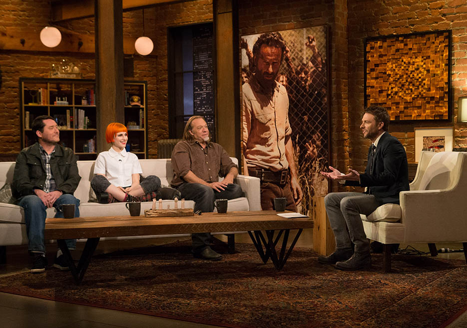 Doug Benson, Hayley Williams, Greg Nicotero (The Walking Dead Executive Producer, Special FX Makeup Designer) and Chris Hardwick in Episode 2 of The Talking Dead