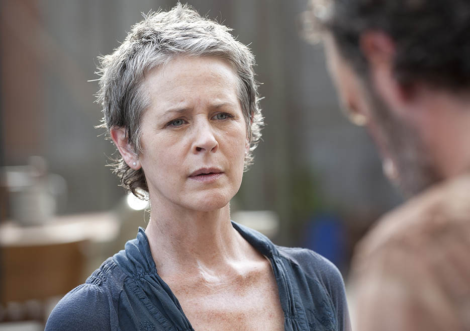 Carol Peletier (Melissa McBride) and Rick Grimes (Andrew Lincoln) in Episode 3 of The Walking Dead