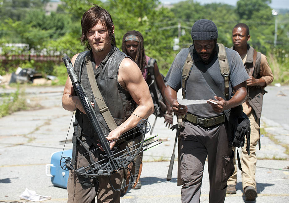 Daryl Dixon (Norman Reedus), Michonne (Danai Gurira), Tyreese (Chad L. Coleman) and Bob Stookey (Lawrence Gilliard Jr.) in Episode 4 of The Walking Dead