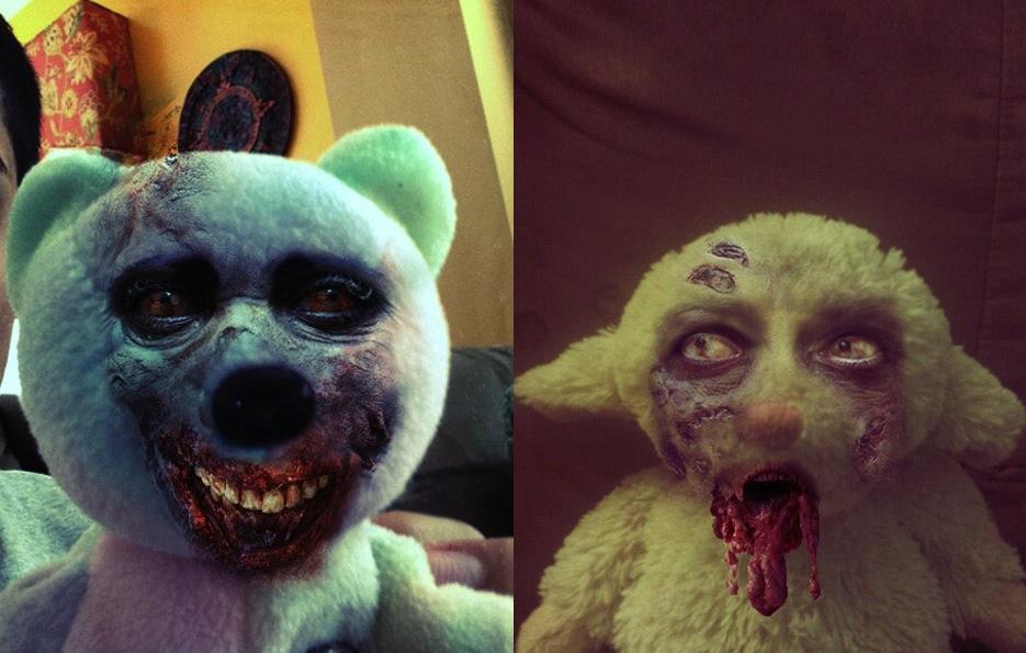 The Walking Dead Teddy bear and stuffed lamb.